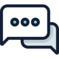 Rectangular Dotted Two Speech Bubbles Icon