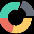 Round Four Piece Chart Flat Icon