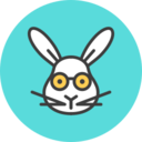Rabbit with Glasses Flat Icon