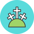 Crosses on a Hill Flat Icon