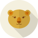 Yellow Bear Animal Portrait Flat Icon