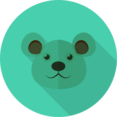 White Bear Animal Portrait Flat Icon