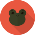 Female Frog Animal Portrait Flat Icon