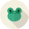 Frog Animal Portrait Flat Icon
