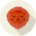 Lion Animal Portrait Flat Icon