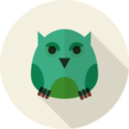 Owl Animal Portrait Flat Icon