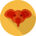Red Elephant Animal Portrait Flat Icon