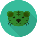 Tiger with Whiskers Animal Portrait Flat Icon