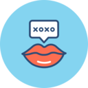 Romantic Lips Flat Icon