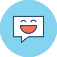 Happy Chat Bubble Flat Icon