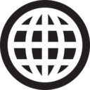 Black & White Retro Globe Glyph Icon