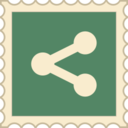 Retro Share Social Media Stamp Icon