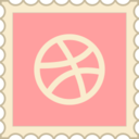 Retro Dribbble Stamp Icon