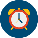 Trendy Flat Clock Icon