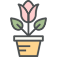 Flat Tulip Pot Icon