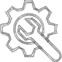 Handdrawn Gear and Wrench Icon