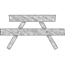 Handdrawn Picnic Bench Icon
