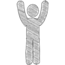 Hands Raised Scribble-Style Icon