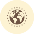 World with Stars Retro Icon