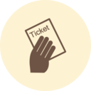 Hand with Ticket Retro Icon