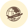 Airplane and Globe Retro Icon