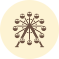 Ferris Wheel Retro Icon
