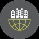 Office Building Globe Icon