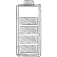 75% Full Battery Hand-Drawn Icon