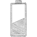 50% Full Battery Hand-Drawn Icon
