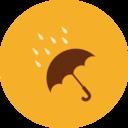 Colorful Autumn Umbrella in Rain Icon