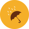 Colorful Autumn Umbrella in Rain Icon