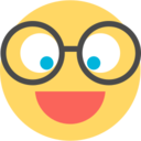 Flat Glasses Emoticon Icon
