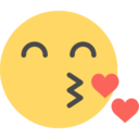 Flat Kissing Emoticon Icon