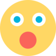 Flat Surprised Emoticon Icon