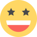 Flat Starry Eyes Emoticon Icon