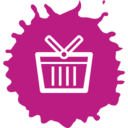 Colorful Lined Shopping Basket Icon