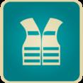 Flat Vintage Life Vest Icon