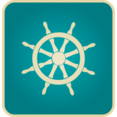 Flat Vintage Ship Steer Icon