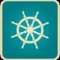 Flat Vintage Ship Steer Icon