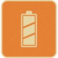 Retro Style Charged Battery Icon with Diagonal Stripes