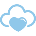 Heart Cloud Computing Vector Icon