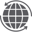 Globe World with Round Arrows Icon