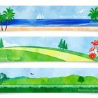 Small 1x watercolor landscape banners