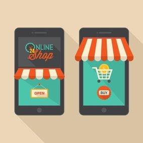 Mobile Shopping Retro Design