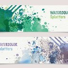 Small 1x watercolor splatters banners