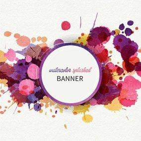 Watercolor Splashed Banner