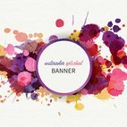 Small 1x watercolor splashed banner