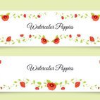 Small 1x watercolor poppy banners