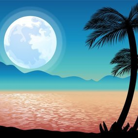 Beautiful Tropical Landscape Vector Scene