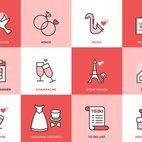 Small 1x wedding flat line vector icons